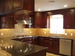 kitchen cabinets with granite countertops: kitchen glass tiles backsplash cherry cabinets and granite countertops