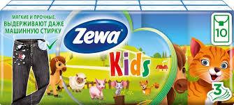 <b>Детские</b> Платочки Бумажные <b>Носовые Zewa</b> Kids, 3 слоя, 10 шт ...