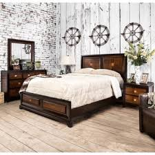 furniture of america duo tone 4 piece acacia and walnut bedroom set bedroom furniture set