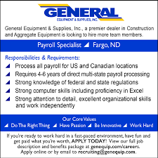 general equipment supplies inc linkedin we are hiring at our fargo nd branch for a payroll specialist apply online today at genequip com careers