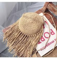 Hollow <b>Tassel</b> Rattan Bags Handmade Wood Handle <b>Womens</b> ...