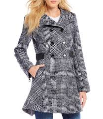 Guess Double Breasted Plaid Stand Collar FitAndFlare Wool Coat ...