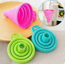 New 2 Pcs Candy-colored Elastic <b>Silicone Mini Collapsible Funnel</b> ...