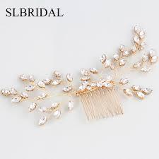2019 <b>Slbridal Gold Handmade Wired</b> Rhinestones Pearls Wedding ...