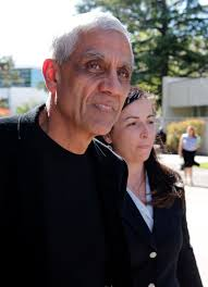 Vinod Khosla and attorney Dori Yob leave the San Mateo County Superior Court building Monday after Khosla testified in the Martins Beach case. - Khosla-Yob