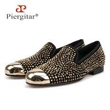 Piergitar 2018 gold toe and gold <b>crystal men loafers men</b> fashion ...