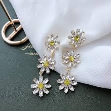 <b>Exaggerated</b> Gemstone Flower Earrings【DDFI】Korean <b>2020 New</b> ...