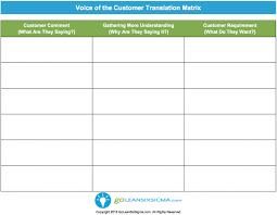 Voice of the Customer (VOC) Translation Matrix - Template & Example
