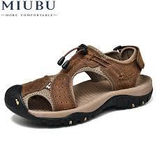 <b>MIUBU</b> Brand Toe Protect <b>Men'S</b> Sandals <b>Genuine Leather</b> Soft ...
