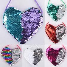 Loving Heart <b>sequins Lanyard Bag Girl</b> Coin Purse Creative ...