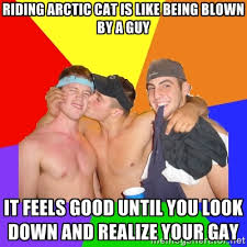 Riding arctic cat is like being blown by a guy It feels good until ... via Relatably.com