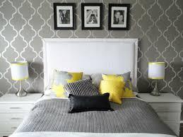 living ideas bedroom wallpaper pattern white grey yellow elements headboard bedroom grey white bedroom