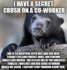 Confession Bear -obsession with a co-worker with long red hair ... via Relatably.com