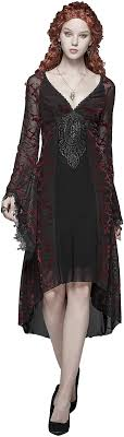 <b>Punk Rave Women</b> Red Gothic Vintage Victorian Sexy Bell Sleeve ...