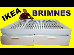 IKEA BRIMNES <b>Bed frame with</b> storage, Standard Double assembly ...