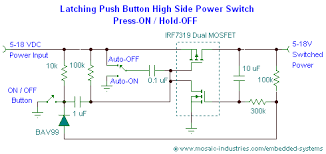 push button on off soft latch circuits battery powered touch schematic of a latching push button on off high side mosfet power switch circuit