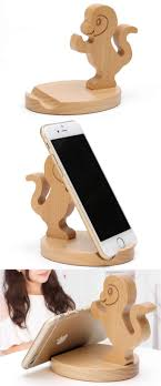 Cute Wooden Monkey Cell <b>Phone Tablet Stand Holder</b>   Wooden ...