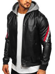 <b>Men's Hooded Leather Jacket</b> Black-Red Bolf HY614 BLACK-RED