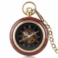 Vintage <b>Wood</b> Round Case <b>Pocket Watch</b> Luxury <b>Quartz</b> Analog ...