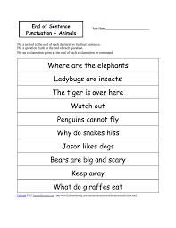 animal writing worksheets at com end of sentence punctuation animals