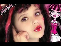 draculaura monster high doll costume makeup tutorial for