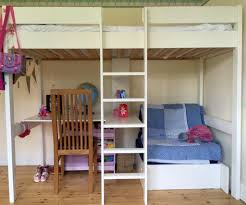 white polished pine wood loft bunk bed with cahise lounge underneath and study desk combined with furniture bed and desk combo furniture