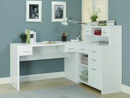 l shaped white wooden desk with shelves and drawers having steel handle on laminate shaped wood desks home