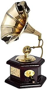 <b>Indian Handmade</b> Gramophone Showpiece Wooden Brass Vintage ...