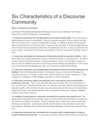 hearts and minds a discourse community analysis six characteristics of discourse communities