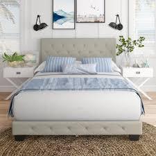 Charlotte <b>Light</b> Beige <b>Linen</b> Queen Upholstered Platform <b>Bed Frame</b>
