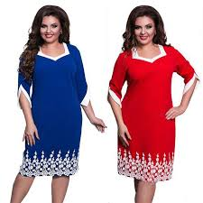 Women Solid Plus Size <b>Office Fashion</b> Loose Lace <b>Patchwork Dress</b> ...