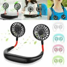 Portable USB Rechargeable <b>Lazy Neck Hanging</b> Style Dual Cooling ...