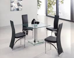 Black Leather Dining Room Chairs Contemporary Square Glass Dining Room Table With Black Leather