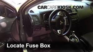 interior fuse box location mitsubishi outlander sport locate interior fuse box and remove cover
