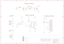 how to use a dht11 a pic16f628a and lcd schematic layout