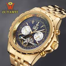 Mechanical Automatic Gold <b>Men</b> Luxury Brand <b>OUYAWEI Tourbillon</b> ...