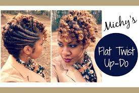 Natural Twist Hairstyles Flat Twist Updo Requested Naturally Michy Youtube
