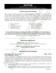 physical education resume sample page 1 education in resume sample