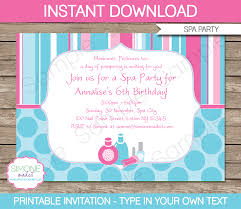 spa party invitations template birthday party spa party invitations birthday party editable diy theme template instant 7 50 via