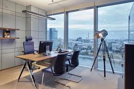 classic office room design blue office room design