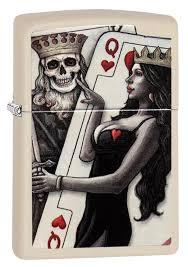<b>Зажигалка Zippo</b> Skull, King, <b>Queen</b> Beauty Cream Matte купить ...