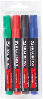 <b>Brauberg</b> Набор <b>маркеров перманентных Contract</b> 4 цвета 150474
