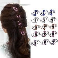 <b>M MISM</b> 6PCS New Rhinestone Flower Hair Claw Snowflake ...