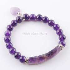 <b>Natural Amethysts</b> Gem <b>Stone Beads</b> Strand Bracelets & Bangles ...
