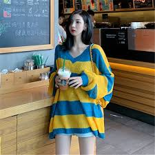 Korean version of Korean <b>outer</b> wear lazy wind <b>loose pullover</b> ...