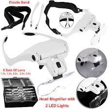 headband 2 led lamp light illuminating magnifier magnifying glass loupe headlamp