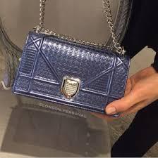 Dior Blue Metallic <b>Perforated</b> Diorama Mini Bag