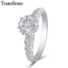 <b>Transgems</b> New Hand Made Moissanite Ring For Women <b>Center</b> ...