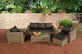 CLP Luxury <b>Polyrattan Garden Sofa</b> Set MADEIRA 3-1-1, 5 mm ...
