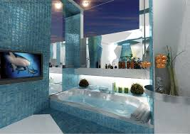 blue bathroom tile ideas:  blue mosaic bathroom tiles